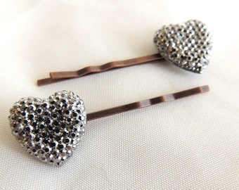 Vintage Style Antiqued Silver Rhinestone Heart Bobby pins a pair, Pave, Copper tone, Bridesmaids Hair Accessories, Valentine's Day Hair pin