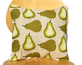 Pillow pears green olive cream beige Cushion covers cases shams fabric UK designer One 16 x 16
