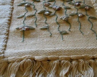 FREE SHIPPING! Vintage 1980s Natural Woven Fiber Embroidery Fringe Wall Hanging
