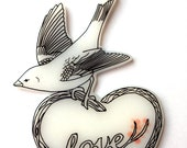 Love Bird Necklace - Bird on a Heart Shaped Tree Branch with Love and Pink Blossoms - Sparrow, Wren, Small Garden Bird