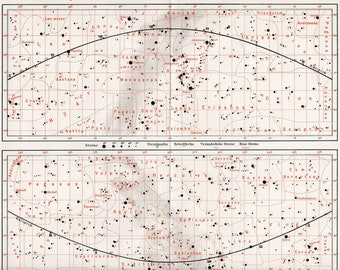 1894 constellation chart original antique star map celestial astronomy  print northern and southern sky