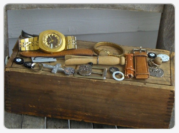 Destash Steampunk supplies. watch fobs, gears, vintage buckle, leather bands, cross crucifix upcycle assemblage