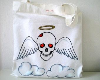 Angel Skull Tote Bag,   Handpaint Skull  Canvas Tote Bag