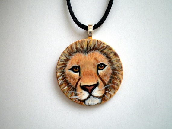 Lion Necklace , Hand Painted wild life animal pendant ,  wooden jewelry  gift under 50