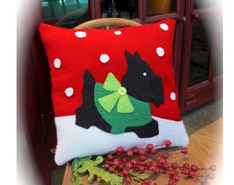 A Scotty Christmas pillow wool felt pattern by Cleo and Me