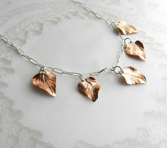 Copper Leaves Necklace with Sterling Silver Chain
