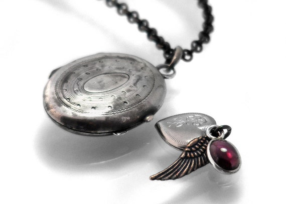 French Antique Locket,  Silver Reliquary with Heart, Angel Wing & Garnet, Belle Epoque, Sterling Silver Locket - Long Chain Necklace
