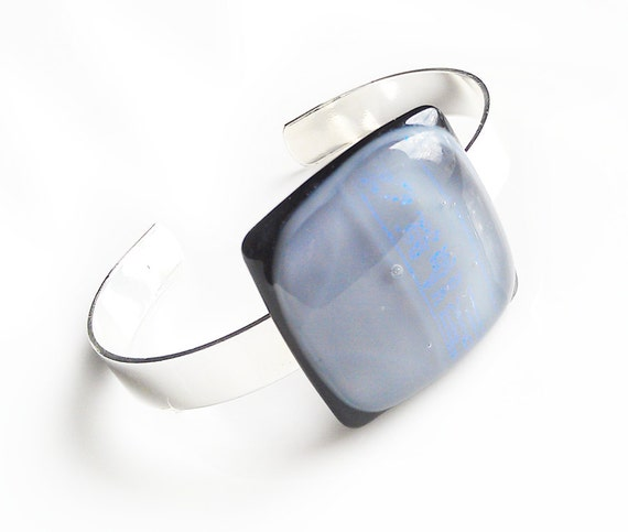 Bracelet - Gray Black and Blue Dichroic Fused Glass - Silver Bangle