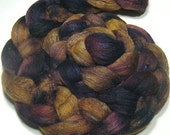 Polwarth & tussah silk roving - hand dyed spinning and felting fiber - 4.5 oz Grapevine - hand painted combed top - earthy purple brown wool