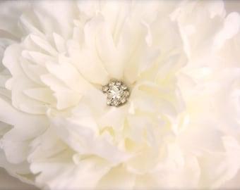 White Peony Hair Flower with Crystal Rhinestones, Cream Peony Bridal Hair Fascinator, vintage style crystal rhinestone brooch