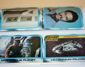 Upcycled Inspired by Star Wars Empire Strikes back 1980 Trading Card Bookmarks Set of 2 Millennium Falcon, Luke and Lando