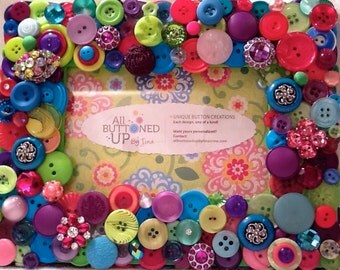 """RESERVED ~ CUSTOM ONLY Bright Pastel Button Frame for 4""""x6"""" Photo in Shades of Lime Blue Pink and Purple ~ Nursery Decor ~ Gift for Girl"""
