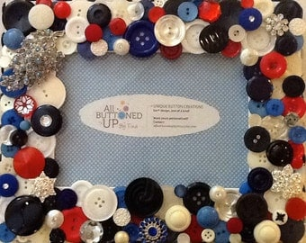 RESERVED ~ CUSTOM ONLY Blue Navy White and Red Button Frame ~ Cottage Decor ~ Gift for Girl ~ Match to Decor ~ Personalized ~ for 5x7 photo