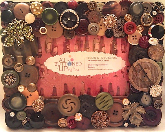 "Wine Themed Button Picture Frame In Browns, Blacks, Olive and Burgundy for 4""x6"" photo"