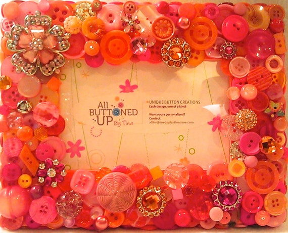 "Orange and Pink Button Picture Frame for 4""x6"" Photo"