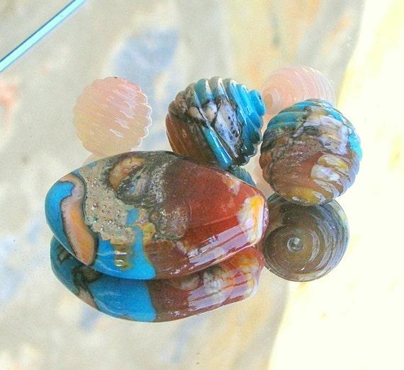 Lampwork Beads, Soft Romantic Spring Colors, Handmade Lampwork Jewelry Supplies
