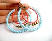 Bohemian style earrings - Color me - hoop turquoise red antique gold boho indie chic earrings