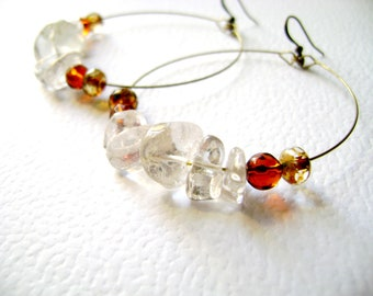 Clear quartz stones burnt orange  whiskey glass big beautiful earrings - Glowing Glitz -