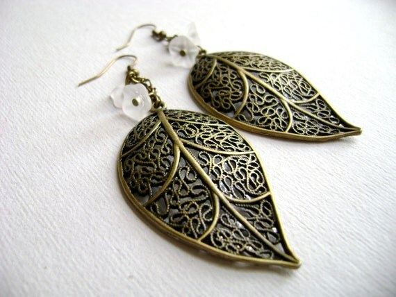 RESERVED FOR ALISON - Fanciful - leaf and matte flowers antique bronze earrings autumn perfect