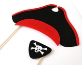 Photo booth Props. Wedding Photo Props. Mustache. Photo Props. Pirate Props. Props on a Stick - The Pirate Envy Maro Kit