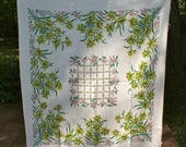 Vintage Retro Cotton Tablecloth Jonquils and Lily Of The Valley Flowers