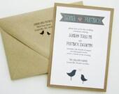 Lovebirds Wedding Invitation - Pink Grey Kraft Banner Lace Twine Vintage Bird Sparrow. Purchase this Deposit to get started.