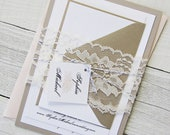 Peach Peony Wedding Invitation - Vintage Grey Elegant Lace, Gold Twine Pink Flower Floral - Deposit