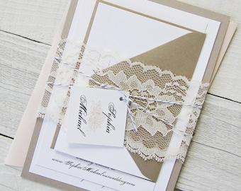 Peach Peony Wedding Invitation - Vintage Grey Elegant Lace, Gold Twine Pink Flower Floral - Deposit