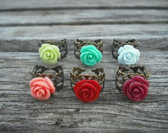 Rose Flower Cabochon Ring - antique brass