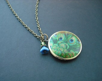 fancy green, gold and blue, peacock feather locket with antique brass chain necklace