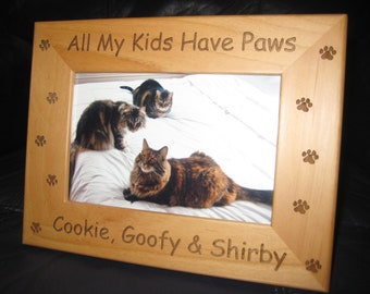 Personalized Engraved Pet Cat Dog Frame 4x6 All My Kids Have Paws