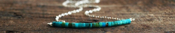 Turquoise Row Necklace in Sterling Silver - December Birthstone
