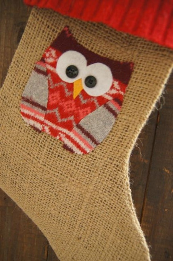Owl applique Christmas Stocking