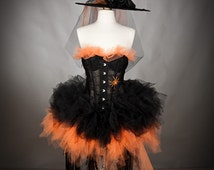Custom Size lace Orange and Black Feather Burlesque Corset Witch costume with Hat and gloves