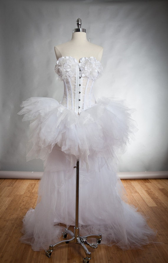 Size Medium White lace and tulle Burlesque Corset Dress short in the front long train in the back Read To Ship