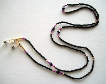 Eyeglass Lanyard Black Beaded Necklace with Black Jet Swarovski Crystals.