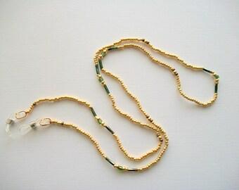 Golden Eyeglass Lanyard Beaded Holder with French Twisted Bugle Beads