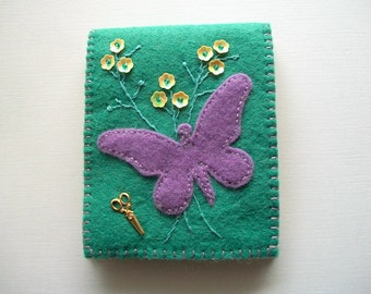 Teal Needle Book Felt Needle Organizer with Purple Butterfly and Yellow Flower Sequins