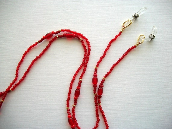Red Eyeglass Necklace Beaded Lanyard with Siam Red Glass Beads