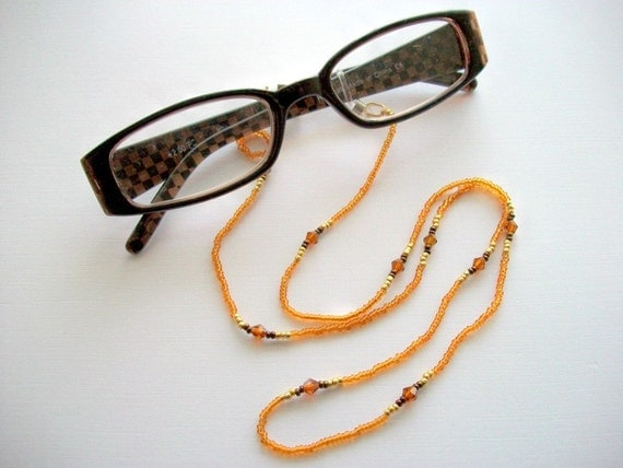 Eyglass Holder Beaded Necklace Transparent Topaz Seed Beads and Dark Amber Crystal Bicones