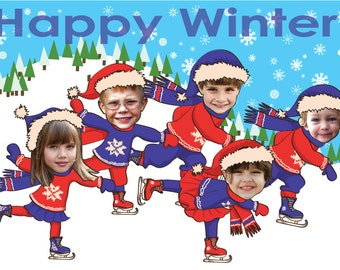 Family Christmas Card - Skating - for up to 11 people - Personalized with your photo - DIGITAL FILE