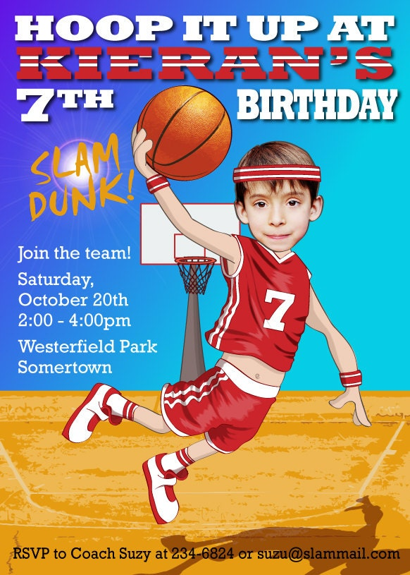 Basketball Birthday Party Invitation Personalized with your – Basketball Birthday Invitations