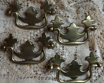 ANTIQUE METAL HARDWARE furniture drawer pulls brass filigree altered art assemblage collage mixed media
