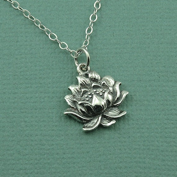 Lotus flower necklace sterling silver necklace lotus description finely detailed sterling silver lotus flower necklace audiocablefo light catalogue