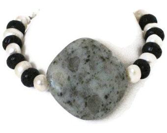 Sesame Jasper & Freshwater Pearl Bracelet, One of a Kind, Gifts for Women Mom Wife Sister Daughter Grandma Under 25, Stocking Stuffers