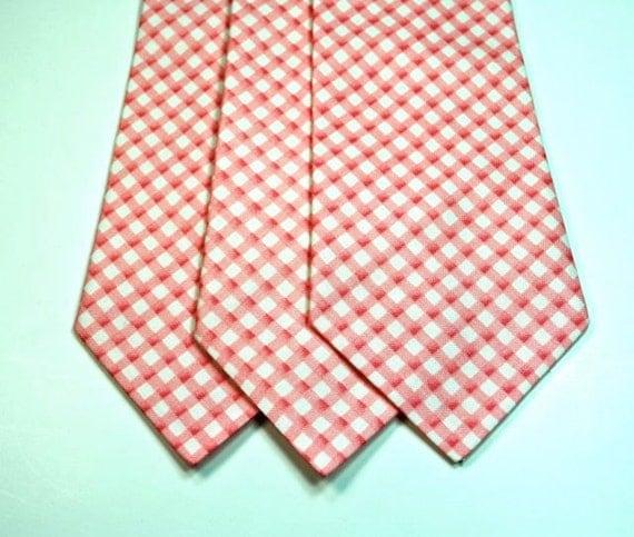 Pink Coral Cotton Mens Neckties Wedding Neckties Custom