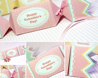 Kawaii Sweet Love Pink Candy Giftbox Cute Valentine's Day Easter Love Birthday Party Treatbox Sweet Box Packaging Editable Printable PDF
