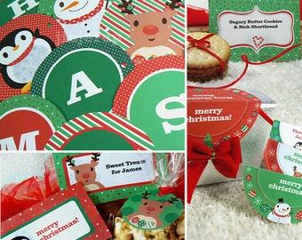 Kawaii Christmas Joy Treat & Party Decor Editable Printable PDF