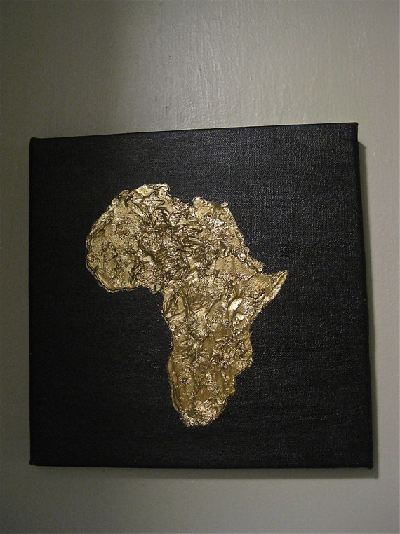 Items Similar To Acrylic Painting Of Africa With Gold Leaf