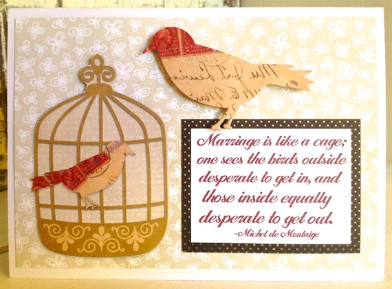 TRAPPED in a Bad Relationship CARD . I'm in a TREASURY Love Divorce Separation Birds Birdcage 1202